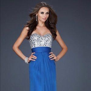 La Femme |Strapless Rhinestone Embellished Gown